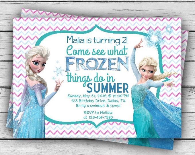 Chevron Elsa FROZEN BIRTHDAY INVITATION & Thank You Card, Frozen Birthday Invitation, Girl Birthday, Birthday Party
