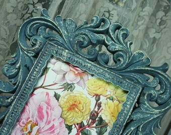 Vintage SHABBY CHIC Distressed Blue Grey Rococo Picture Frame