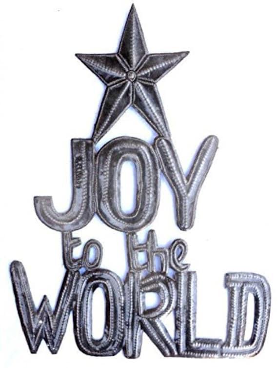 "Joy to the World, Christmas, Recycled Steel, Haiti Metal Wall Art 17.5"" x 13.5"""