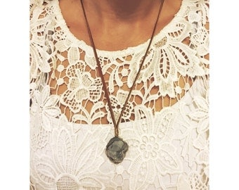 Chalcedony and Leather Lace Necklace