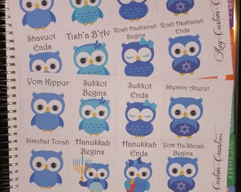 Jewish Holiday Owl Stickers for Erin Condren Life Planner