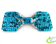 Dog Bow Tie - Cat Bow Tie - Pet Fashion Accessory - Turquoise and Silver