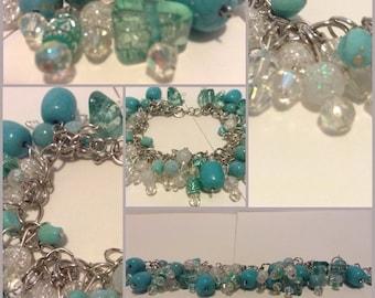 CLEARANCE Turquoise Beaded Charm Bracelet