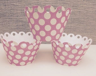 Pink and White Polka Dot Cupcake Wrappers - 24 Ct.