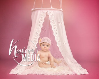 Pink Baby Toddler Child White Lace Canopy Fur Bed Studio Digital Backdrop - Photography Background with Fur PNG Coverup