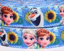 "3 yards 7/8"" Frozen Elsa Anna Fever Grosgrain Ribbon-3 yards Frozen Fever Grosgrain Ribbon - Frozen Sisters Forever Ribbon-Frozen Ribbon"