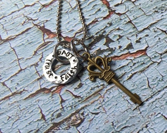 Faith, Love, Trust hand stamped necklace
