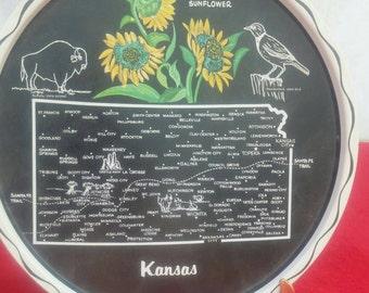Vintage souvenir tray, Kansas
