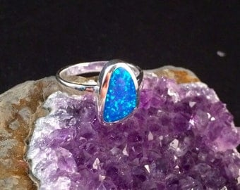 Sterling Silver Lab Opal Ring Size 8.5
