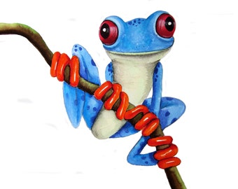 Blue Tree Frog  Art  Signed Print from an original watercolour painting by artist Maria Moss. Available in 4 sizes