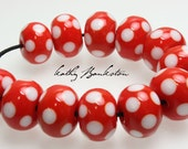 Red Polka Dot Beads, Polka Dot Beads, Red Polka Dot Lampwork Beads, Gumball Beads, Bubble Gum Beads, Kathy Bankston, Red & White Bead