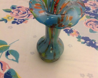 Vintage multi-colored hand-blown glass vase