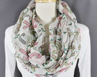 Candy Canes Christmas scarf lightweight gauzy infinity long circle loop cowl figure 8 White Green Red Yellow Black