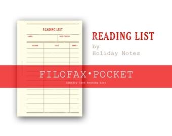 Library Card Reading List ・Pocket Size ・Filofax Insert