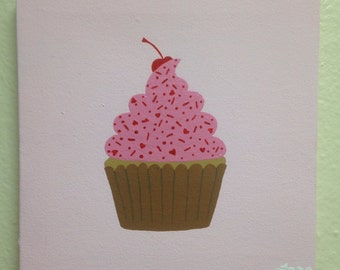 """Simple """"Cupcake made with Love"""" Small Painting"""