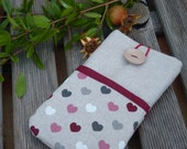 Lg G4 Pouch / Lg G3 Case Cover / LG G Flex Case / LG L90 pouch / Fabric case LG cover  - cell phone pouch - Linen case hearts pockets