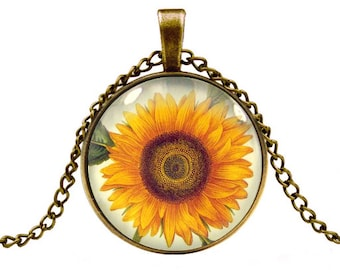 sunflower necklace pendant jewelry-with gift box