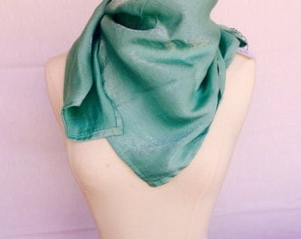 Sparkly Mint Satin Square Scarf