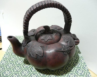 "FREE SHIPPING!  Teapot handmade ""Pumkin"",380 ml from blue clay"