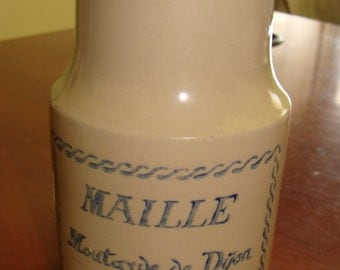 Vintage French Stoneware mustard jar/pot/Shabby Farmhouse Decor/Shabby Chic