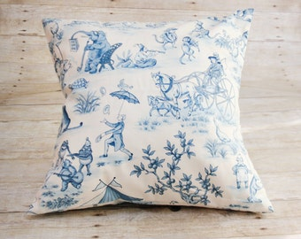Blue and White Vintage Storybook Print 12x12 inch Pillow Covers