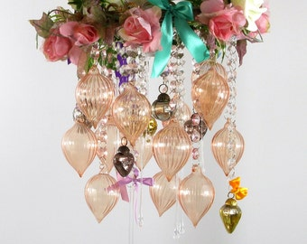 Pink orange glass vintage-style floral chandelier lighting for bedroom or boudoir