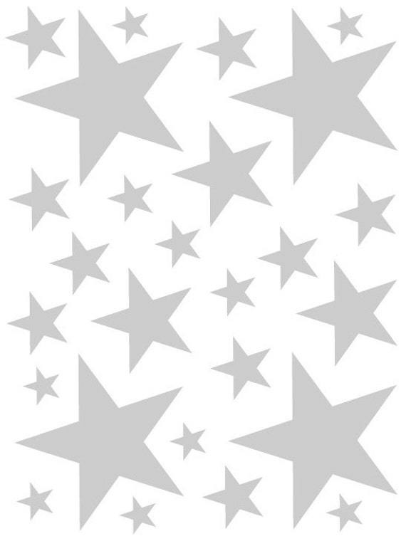 52 Satin Silver Vinyl Star Shaped Bedroom Wall Decals Stickers Teen Kids Baby Nursery Dorm Room Removable Custom Made Easy to Install