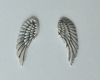 Large Angel Wings, Angel Wing Charm, One Piece, 11x28mm, Two Sided, Pewter, Jewelry Finding, Fast Shipping from USA