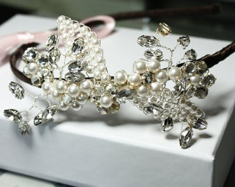 Side Flower pearl and diamante headband