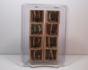Stampin' Up! A is for ADORABLE Set of 8 Wood Mounted Rubber Stamps, New & Unused - Merry, Cherish, Love, Friends and More