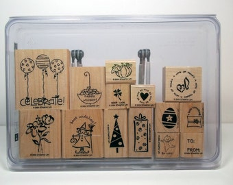 Stampin' Up! TAG TIME Set of 14 Wood Mounted Rubber Stamps, New & Unused - Love, Holidays, Thanks, Baby, Birthday, To From