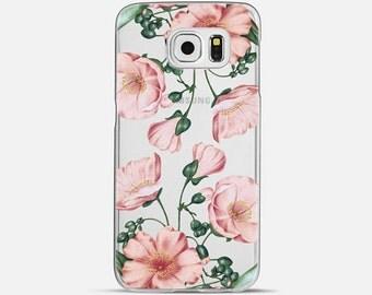 Pink Floral Transparent Clear Case for Samsung Galaxy s6 Edge, Samsung Galaxy s6, Samsung Galaxy s5