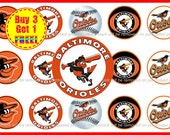 Baltimore Orioles MLB Baseball Bottle Cap Images - Baltimore Orioles Bows - 1 inch Bottle Cap images - Instant Download - Buy 3, Get 1 FREE!