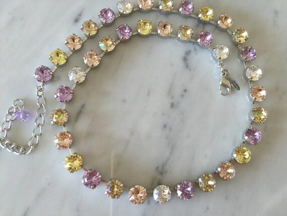 Swarovski Pastels Crystal Necklace,  Violet Crystal Necklace, Swarovski Crystal Collar Necklace