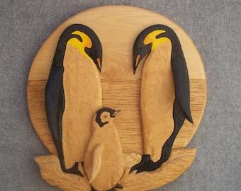 Emperor Penguin Family Wall Sculpture