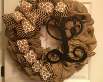 burlap large wreath with custom letter, great for all year, Christmas present