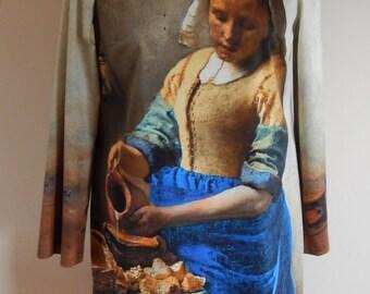 Painting dress 'The Milkmaid' by Johannes Vermeer, blue yellow, print, size EU 40 (USA 10 - UK 12), cotton