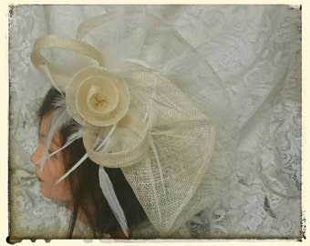 Cream sinamay fascinator with feathers and sinamay flower headband Kentucky Derby