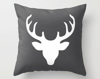 Deer pillow, deer head pillow, gift throw pillow, black white pillow, deer silhouette home living decorative sofa pillow