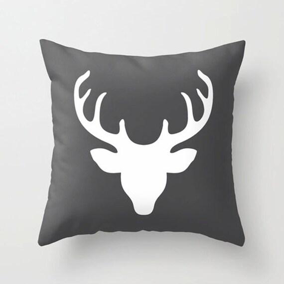 Deer Pillow Deer Head Pillow Gift Throw Pillow Black White