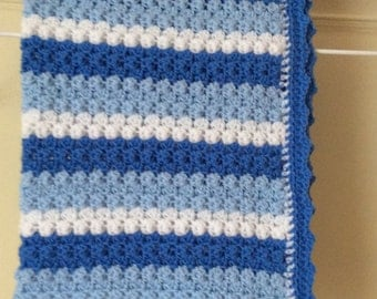 Crochet baby boy striped blanket with picot edge