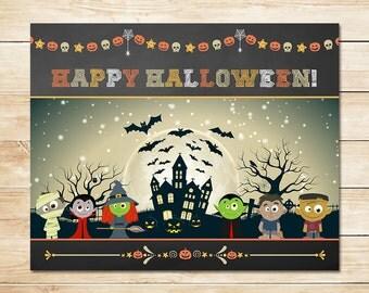Halloween Party Sign Happy Halloween Monsters - Chalkboard Halloween Sign - Halloween Printable - Halloween Party - Halloween Decoration