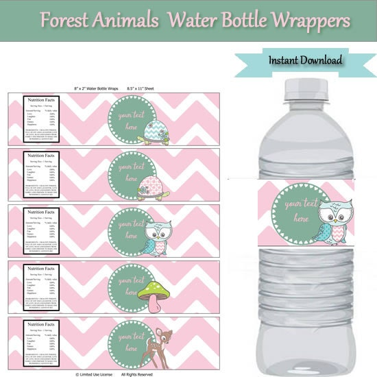 Woodland forest animals party water bottle label wrappers for Water bottle label template free word