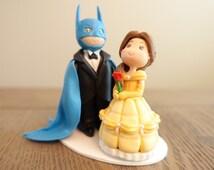 Batman Wedding Cake Topper, Belle Cake Topper, Wedding Cake Topper, Custom Cake Topper
