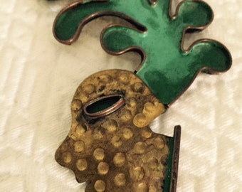 Vintage Signed Maya Mexican Very Large Brooch and Pendant