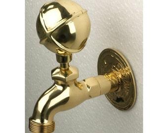 Polished Brass Globe Garden Tap