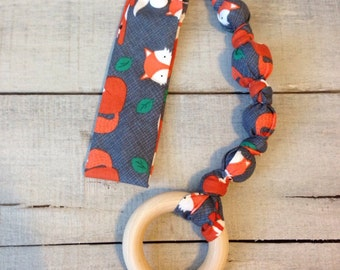 Sly Tula Accessories, Snap On Teether, Fox Attachable Teether Toy, Bunny Ears Teether Toy, Wood Teething Ring, Tula Teether