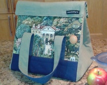 Insulated lunch bag - very large - recycled fabrics
