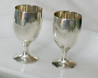Leonard Cordial Cups, set of 2, EPNS silver plate vintage barware