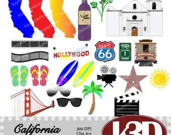 California, Hollywood, San Francisco, Mission, Golden Gate bridge, clipart instant digital download. 27 digital images, graphics